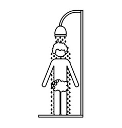 Monochrome contour of man in the shower vector