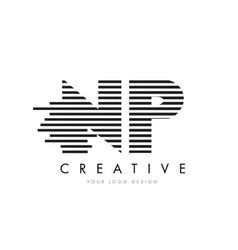np n p zebra letter logo design with black and vector image