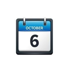 October 6 Calendar icon flat vector image