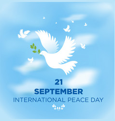 peace dove with olive branch for international vector image