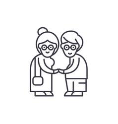 Pensioners line icon concept pensioners vector
