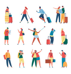 people traveling man and woman with backpacks vector image