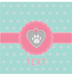 Pink ribbon and label with dogs pendant Card vector image