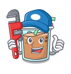 Plumber bubble tea mascot cartoon vector