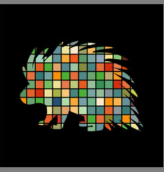 porcupine rodent mammal color silhouette animal vector image