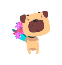 pug dog with bouquet of flowers funny valentine vector image