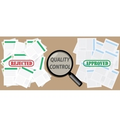 quality control check document with approved and vector image