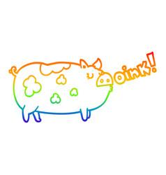 Rainbow gradient line drawing cartoon oinking pig vector