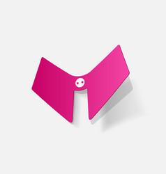Realistic paper sticker lace collar vector