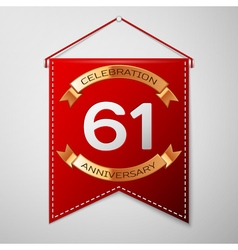 Red pennant with inscription sixty one years vector