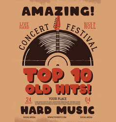 retro music flyer a4 format top 10 old hits vector image