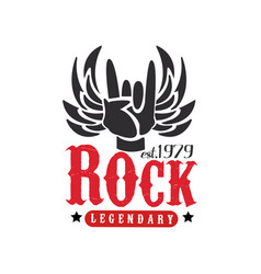 rock legendary est 1979 logo design element with vector image