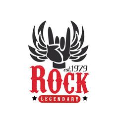rock legendary est 1979 logo design element with vector image