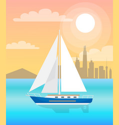 sail boat with sails blue water at sunset vector image