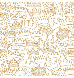 seamless pattern with crown - thin line ico vector image