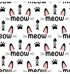 Seamless pattern with meow vector
