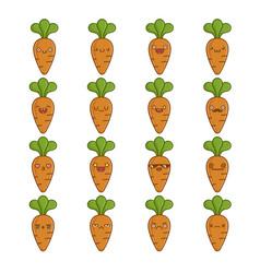Set fun cute carrot vegetable icon cartoons vector
