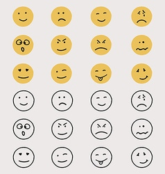 set hand drawn emoticons or smileys vector image