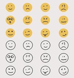 Set hand drawn emoticons or smileys vector