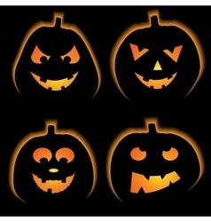 Set of 4 halloween pumpkins vector image