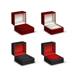 Set of Empty Colored Opened gift jewelry boxes vector
