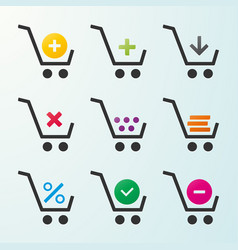 set of icons of shopping carts vector image