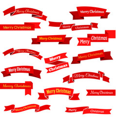 set of sixteen red ribbons and banners vector image