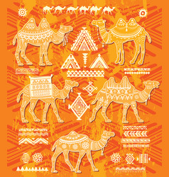 set of stylized figures of decorative camels vector image