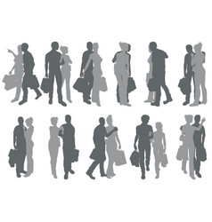 shopping couple silhouettes vector image