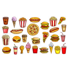sketch fast food meals isolated retro signs set vector image