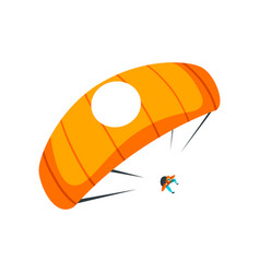 Skydiver flying with parachute in the sky vector