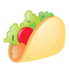 Soft taco on white background vector