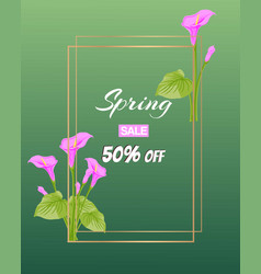 spring sale poster with beautiful spring flowers vector image