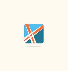 Square x initial company logo vector