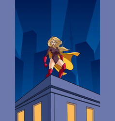 Superheroine roof watch vector