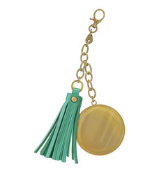 Trinket with metal round medal and leather tassel vector