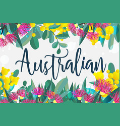 Tropical austalia design leaves and flowers vector