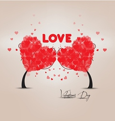 Two trees heart valentines vector image