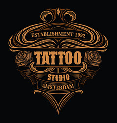 Vintage logo for tattoo studio vector