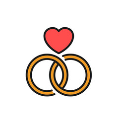 Wedding ring icon connected rings with love vector