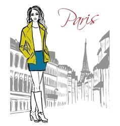 woman standing in Paris vector image