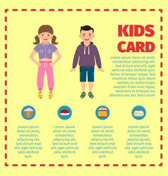 yellow kids card infographic template l vector image