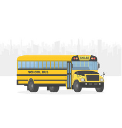 Yellow school bus on white city background vector