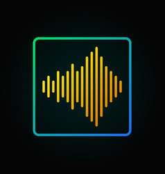 Yellow sound wave linear concept icon or vector