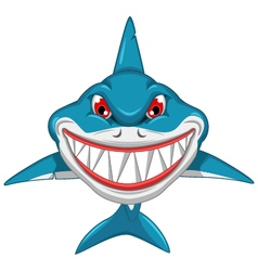 angry shark cartoon vector image vector image