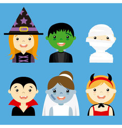 avatar collection of happy children dressed as hal vector image