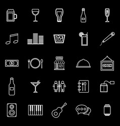 bar line icons on black background vector image vector image
