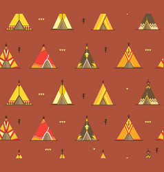 cartoon wigwams or tepees background pattern vector image