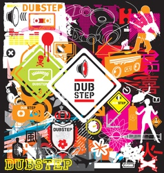 dubstep flyer design elements vector image vector image
