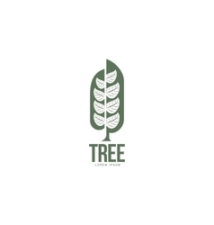 Extended graphic tree logo with stylized leaves vector